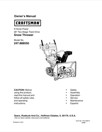 Craftsman 247.88855 Owner's Manual