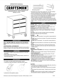 Craftsman 26 in. Wide 3-Drawer Standard Duty Ball-Bearing Rolling Cabinet - Black Use & Care Manual