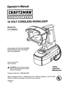 Craftsman 315.26826 Operator's Manual