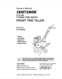 Craftsman 3.75 HP 17 INCH TINE WIDTH 917.2922 User's Manual
