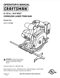 Craftsman 315.11516 User's Manual