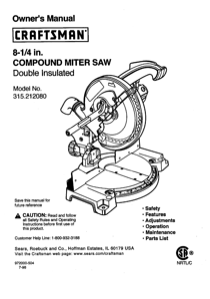 Craftsman 315.21208 User's Manual