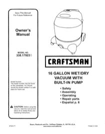 Craftsman 338.17923 User's Manual