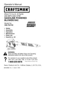 Craftsman 358.79474 Operator's Manual