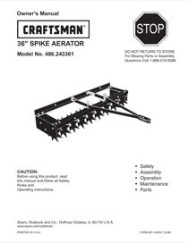 Craftsman 36 in. Spike Aerator Owner's Manual