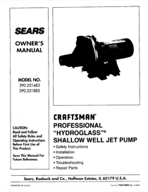 Craftsman 390.251483 User's Manual