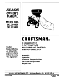 Craftsman 247.79989 Operator's Manual