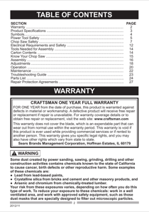 Craftsman CM 14 INCH CHOP SAW Manufacturer's Warranty