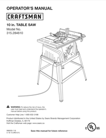 Craftsman Evolv 15 Amp 10 in. Table Saw 28461 Owner's Manual