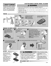 Craftsman Garage Door Opener 3-Function Compact Remote Control Owner's Manual