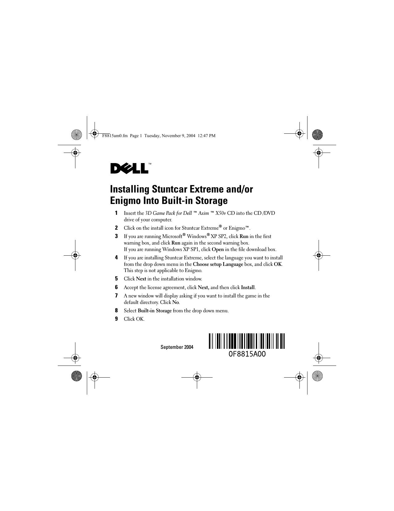 ... Dell Axim X50 Installation Manual