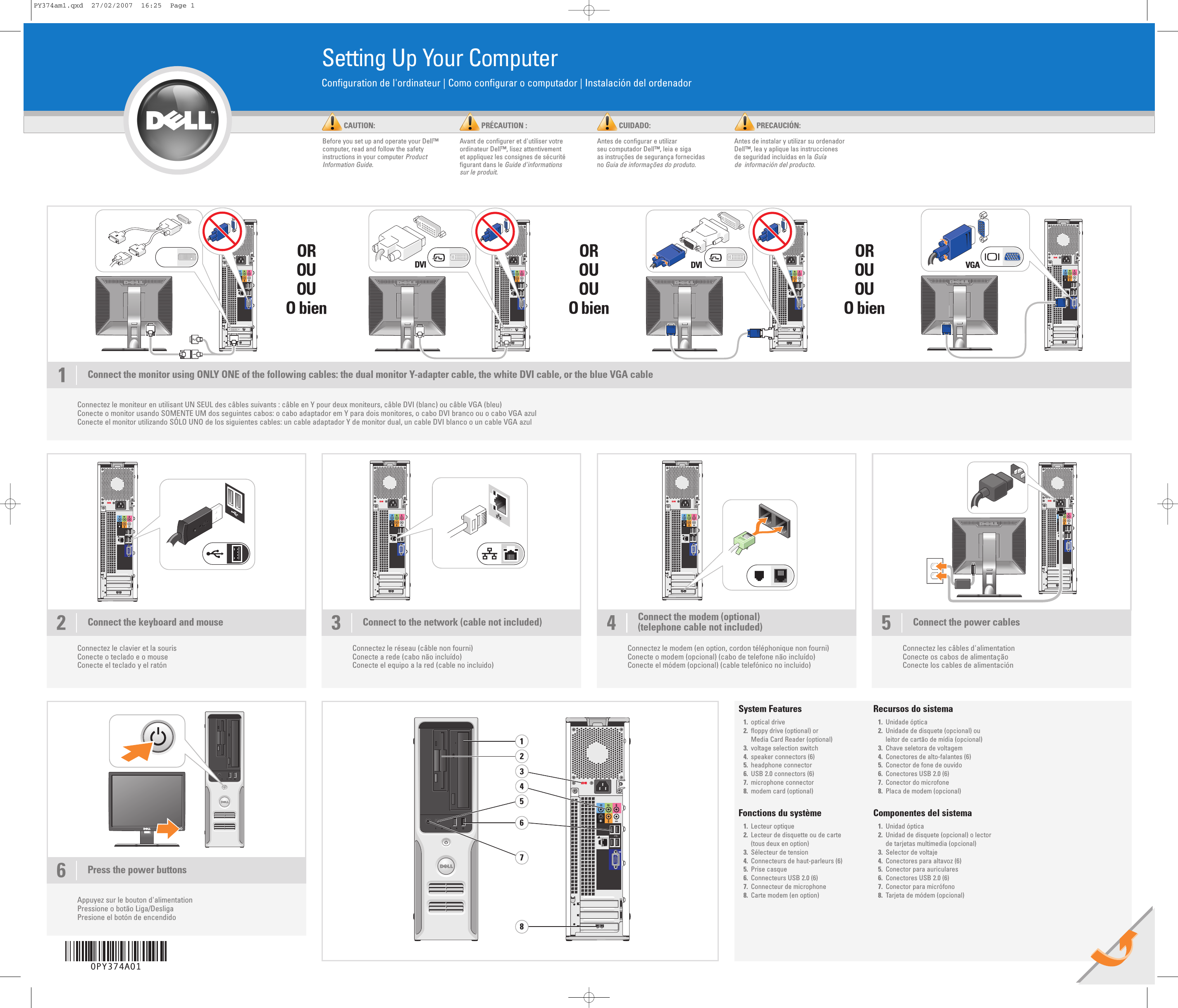 Dell Dimension C521 Owner's Manual 140 pages · Dell Dimension C521 Setup  Diagram