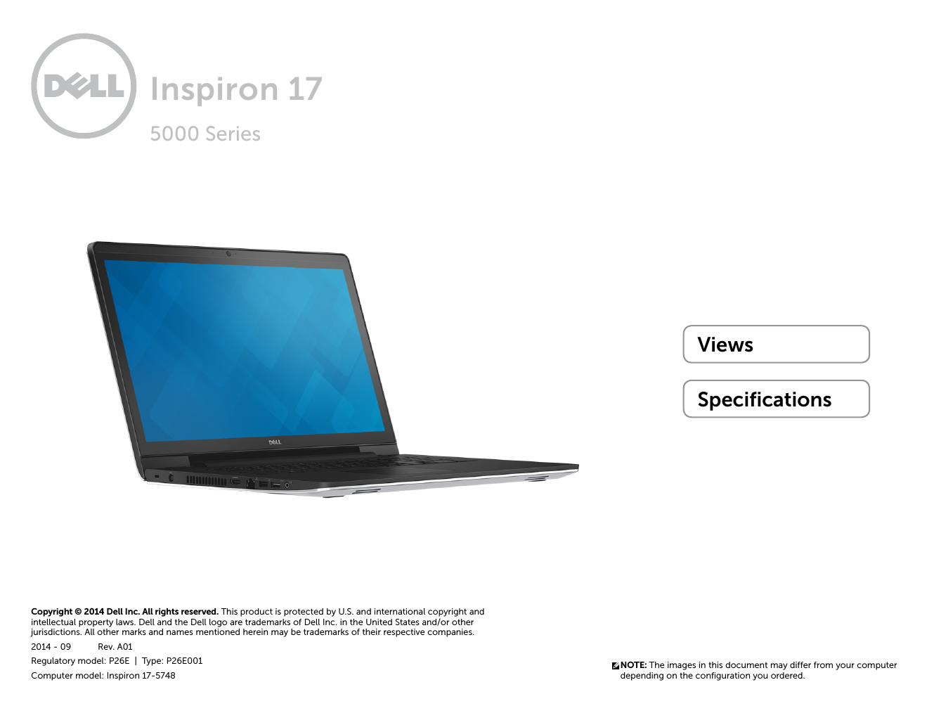 Dell Inspiron 17 5748 Owner's Manual 93 pages · Dell Inspiron 17 5748  Specifications