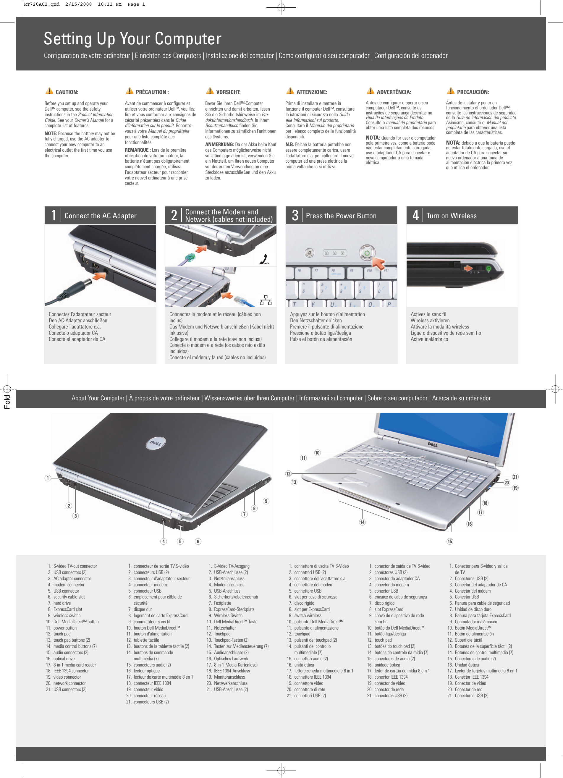Dell Inspiron 1720 Owner's Manual 220 pages · Dell Inspiron 1720 Setup  Diagram