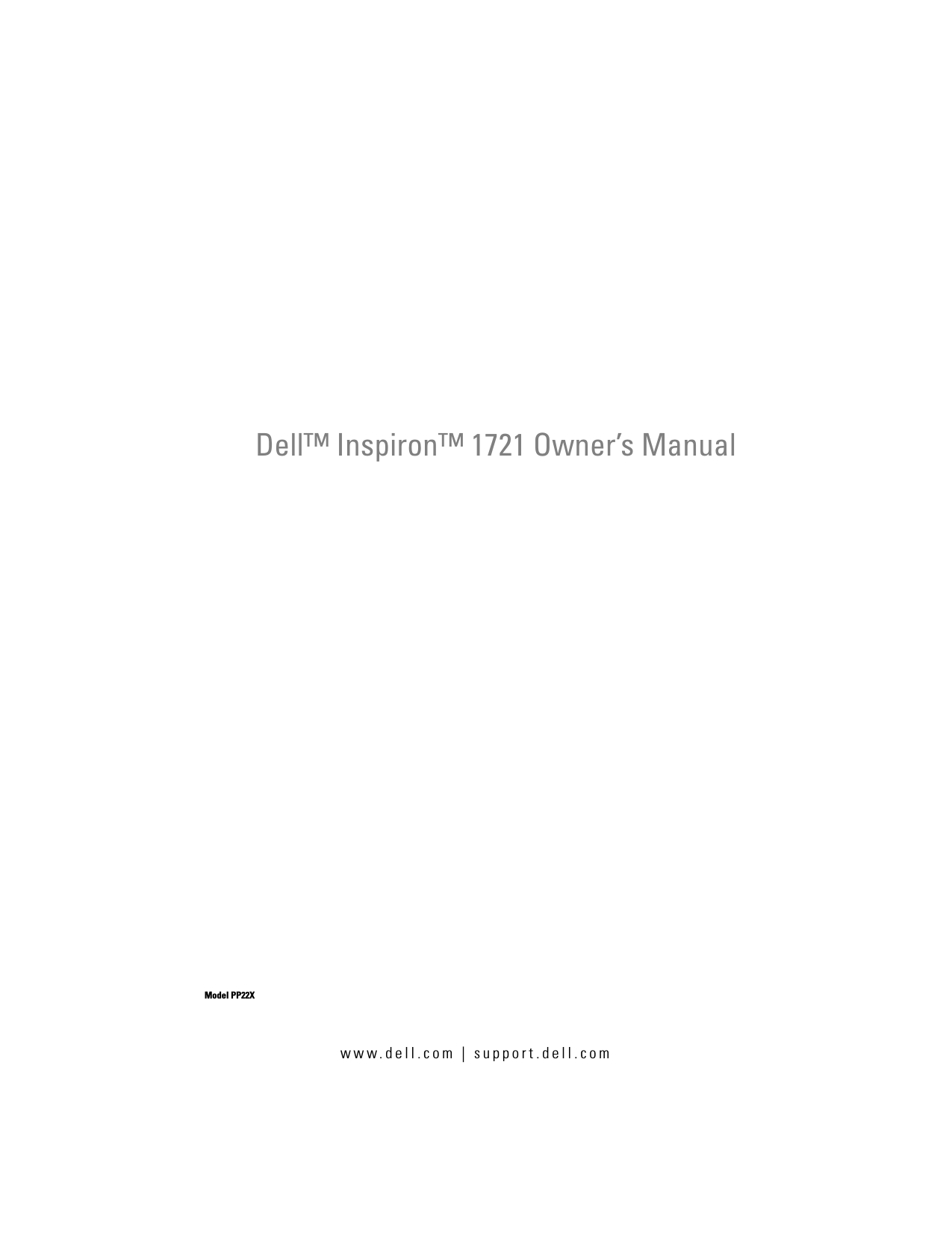 Dell Inspiron 1721 Owner's Manual