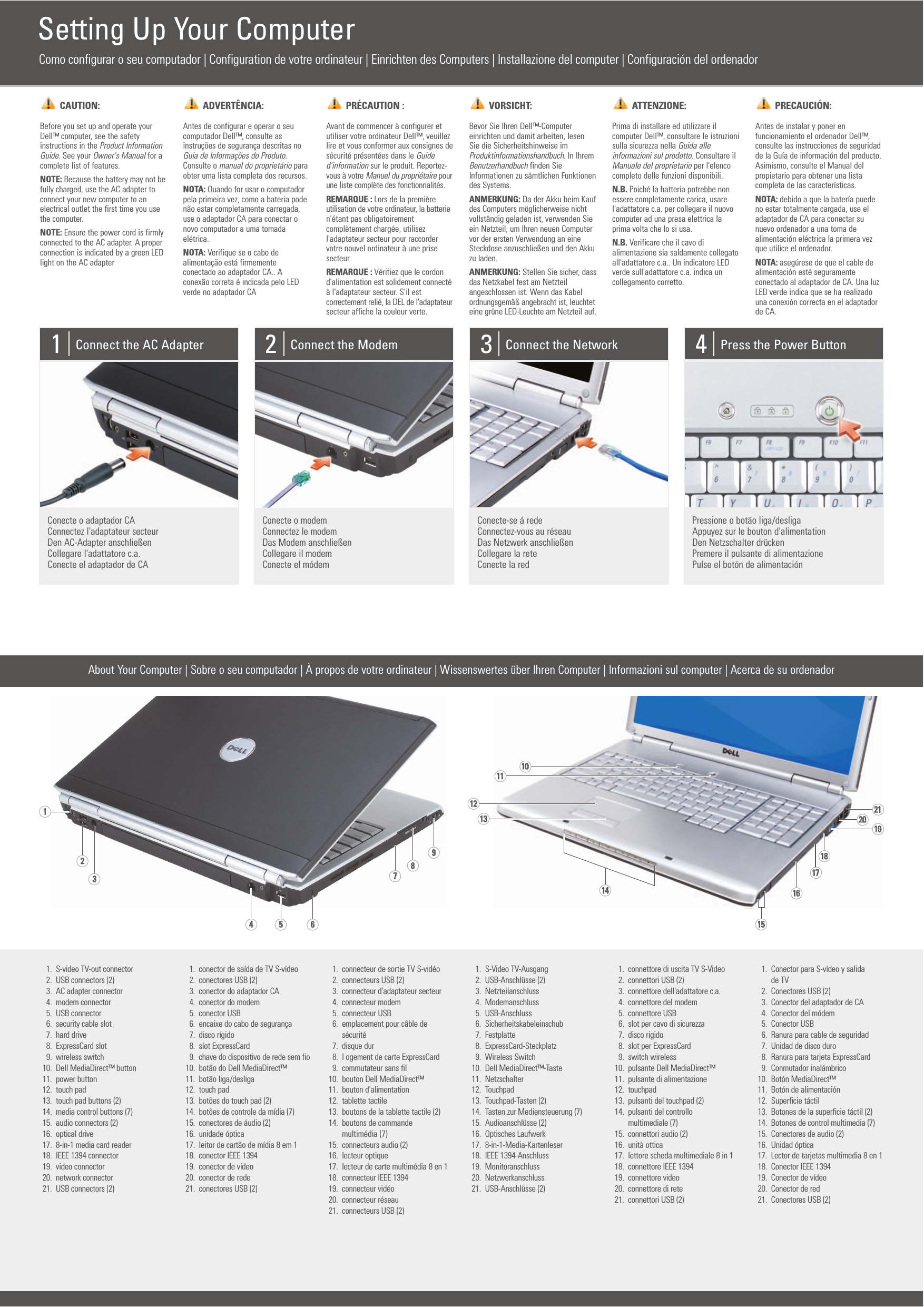 Dell Inspiron 1721 Owner's Manual 220 pages · Dell Inspiron 1721 Setup  Diagram