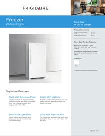 Frigidaire FFFU14F2QW Product Specifications Sheet