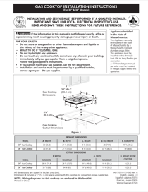 Frigidaire FFGC3010QB Installation Instructions