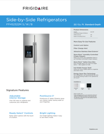 Frigidaire FFHS2322MB Product Specifications Sheet