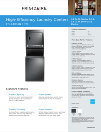 Frigidaire FFLE4033QW Product Specifications Sheet