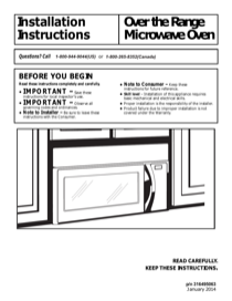 Frigidaire MWV150KB Installation Instructions