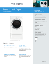 Frigidaire FFQG5100PW Product Specifications Sheet