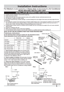 Frigidaire FFRE2533Q2 Installation Instructions