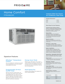 Frigidaire FFRH0822R1 Product Specifications Sheet