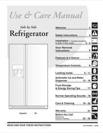 Frigidaire Side by Side FRS26HF7BQ4 User's Manual