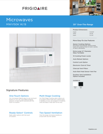 Frigidaire MWV150KW Product Specifications Sheet