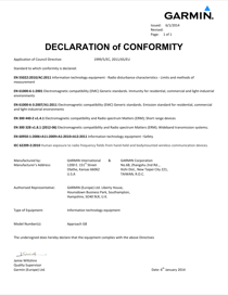 Garmin Approach S2 Declaration of Conformity