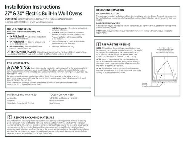 GE JT5500SFSS Quick Start Manual