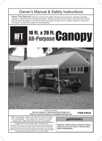 Harbor Freight Tools 10 Ft. x 20 Ft. Portable Car Canopy Product manual