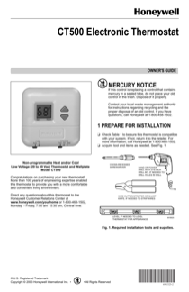 honeywell ct500 owner s manual free pdf download 8 pages rh manualagent com honeywell thermostat owner's manual honeywell thermostat 8500 user manual