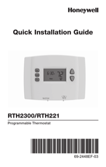 honeywell rth221 quick installation guide online pdf free download rh manualagent com Honeywell RTH221B Manual Honeywell Thermostat Wiring