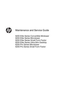 HP Compaq 8200 Elite Convertible Minitower PC User's Manual - Free