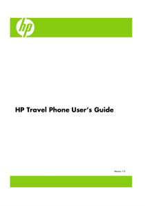 HP Travel Phone User's Manual