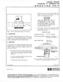 HP TV Cables 11042A User's Manual