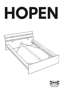 IKEA HOPEN BED FRAME QUEEN Assembly Instruction
