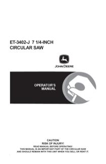 John Deere ET-3402-J User's Manual