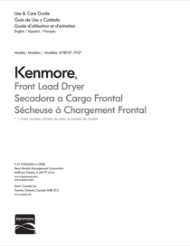 Kenmore Kenmore  7.0 cu. ft. Electric Dryer w/ Wrinkle Guard - White Installation Guide
