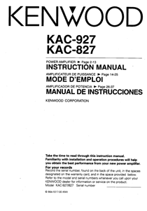 Kenwood KAC-827 Owner's Manual