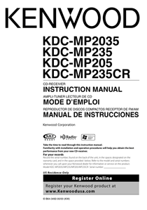 Kenwood KDC-MP2035 Owner's Manual