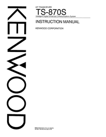 Kenwood TS-870S Owner's Manual