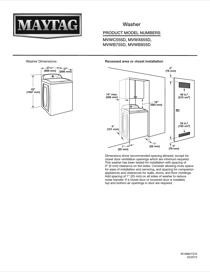 Maytag MVWX655DW Dimension Guide