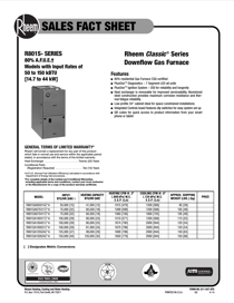 Rheem Classic Series: 80% AFUE R801S Downflow Sales Fact Sheet