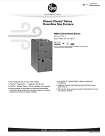 Rheem Classic Series: 80% AFUE R801S Downflow Specification Sheet