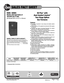 Rheem Classic Series: Up to 95% AFUE 2-Stage PSC Motor Sales Fact Sheet