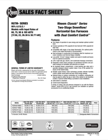 Rheem Classic Series: Up to 95% AFUE 2-Stage V.S. ECM Sales Fact Sheet