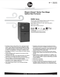 Rheem Classic Series: Up to 95% AFUE 2-Stage V.S. ECM Specification Sheet